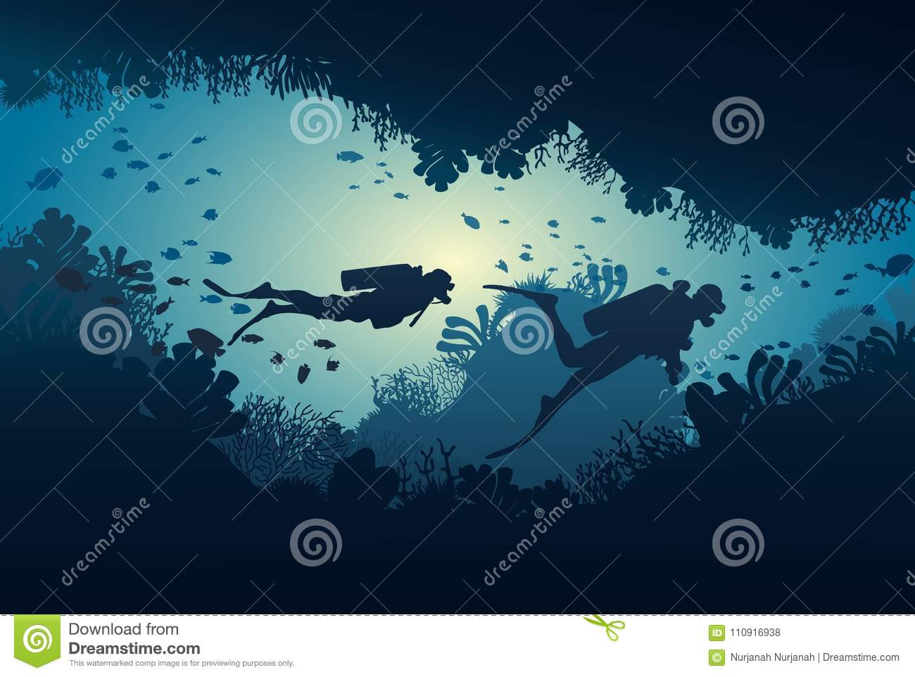 silhouette of diver coral reef and underwater stock vector