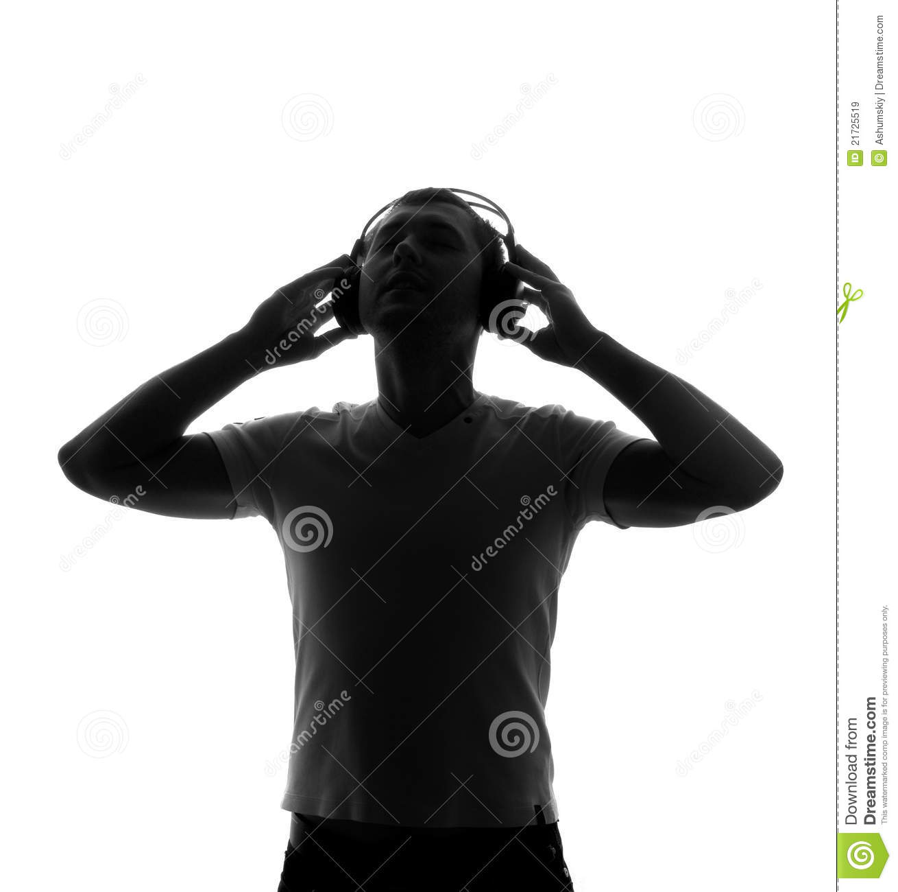 Tune Up Prices >> Silhouette Of DJ With Headphones Stock Image - Image: 21725519