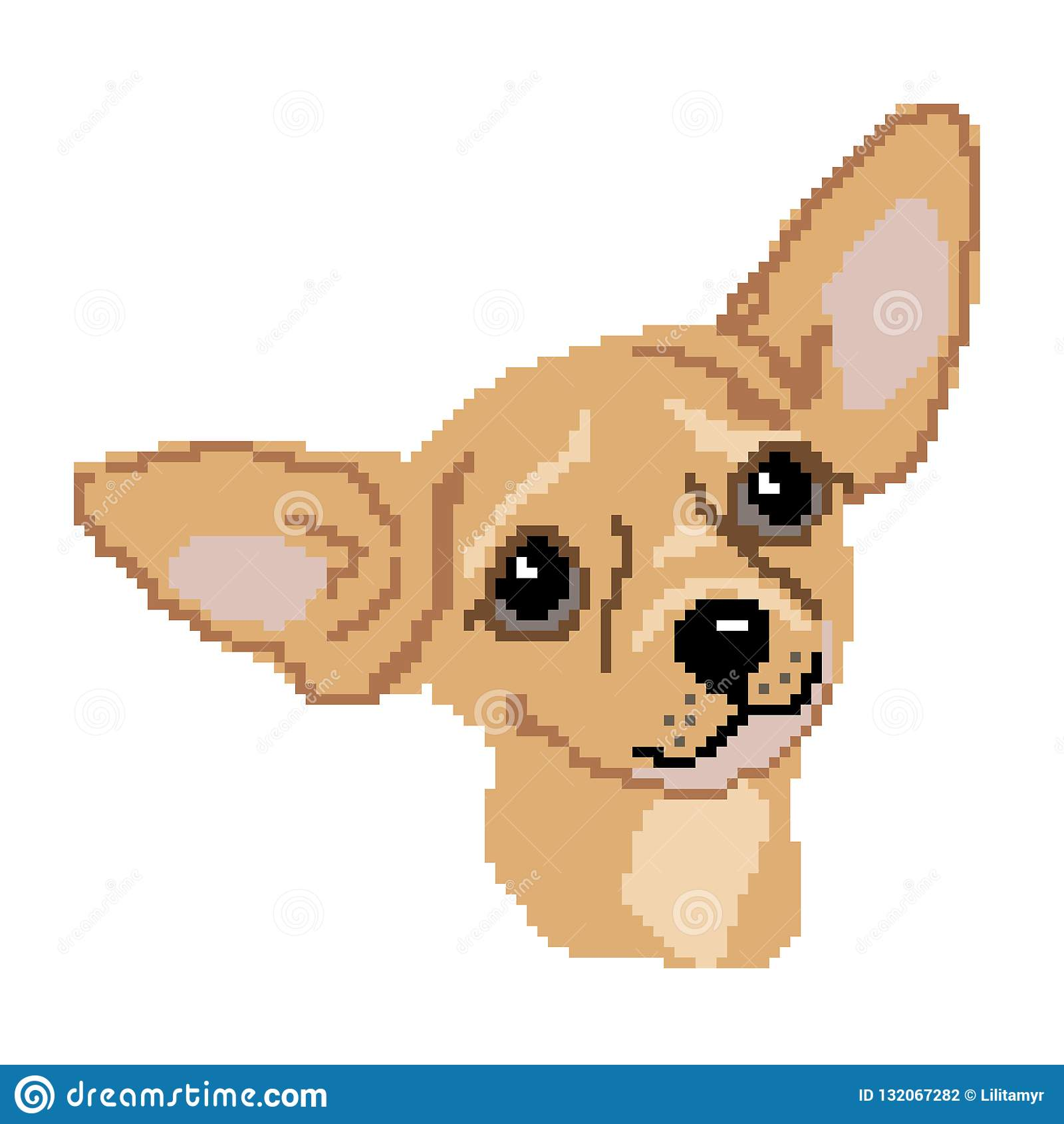 Silhouette Of A Dog Breed Beige Chihuahua Muzzle Head Drawn
