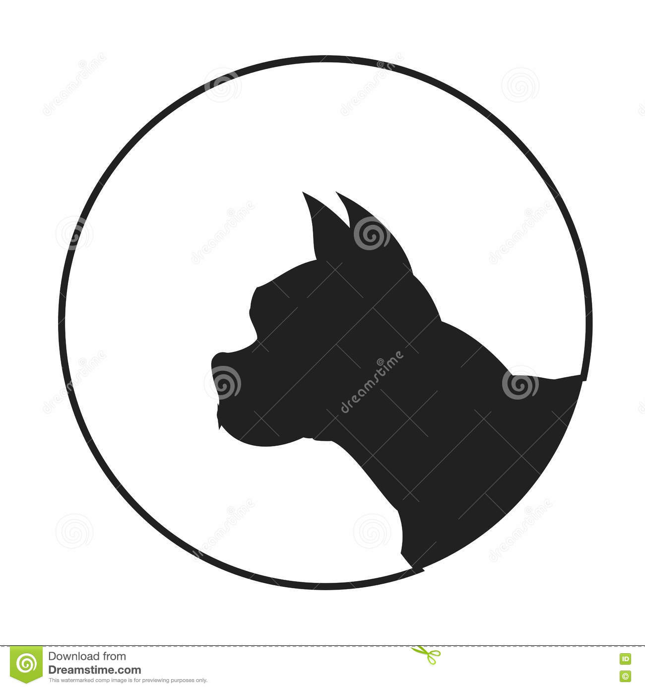 Silhouette Of A Dog Head French Bulldog Stock Vector ...