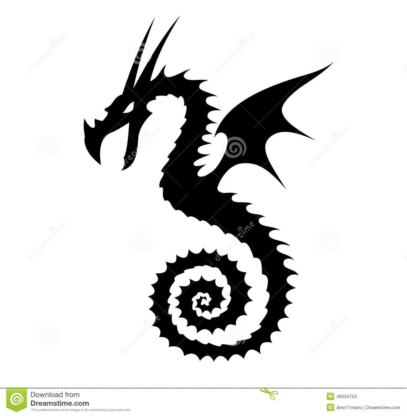 Silhouette Dragon Illustration Stock Illustration - Image ...