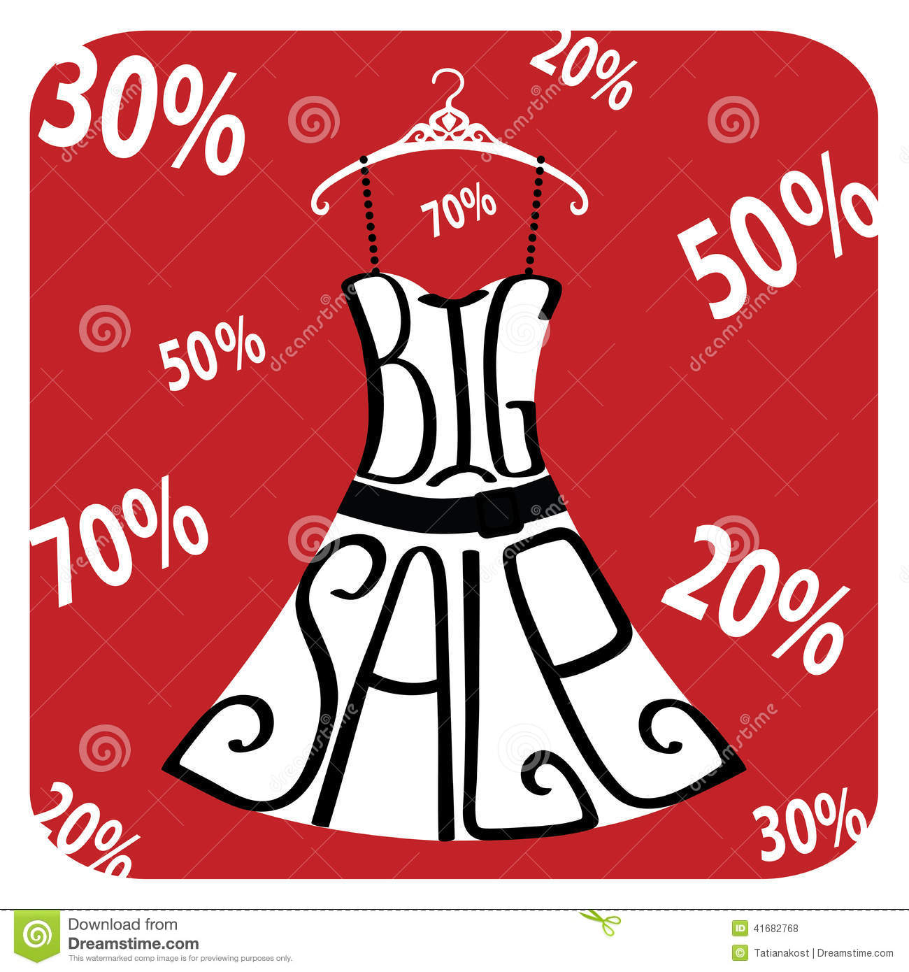 Silhouette Of Dress From Words Big Sale Numbers Percent Sign Stock Vector Image 41682768