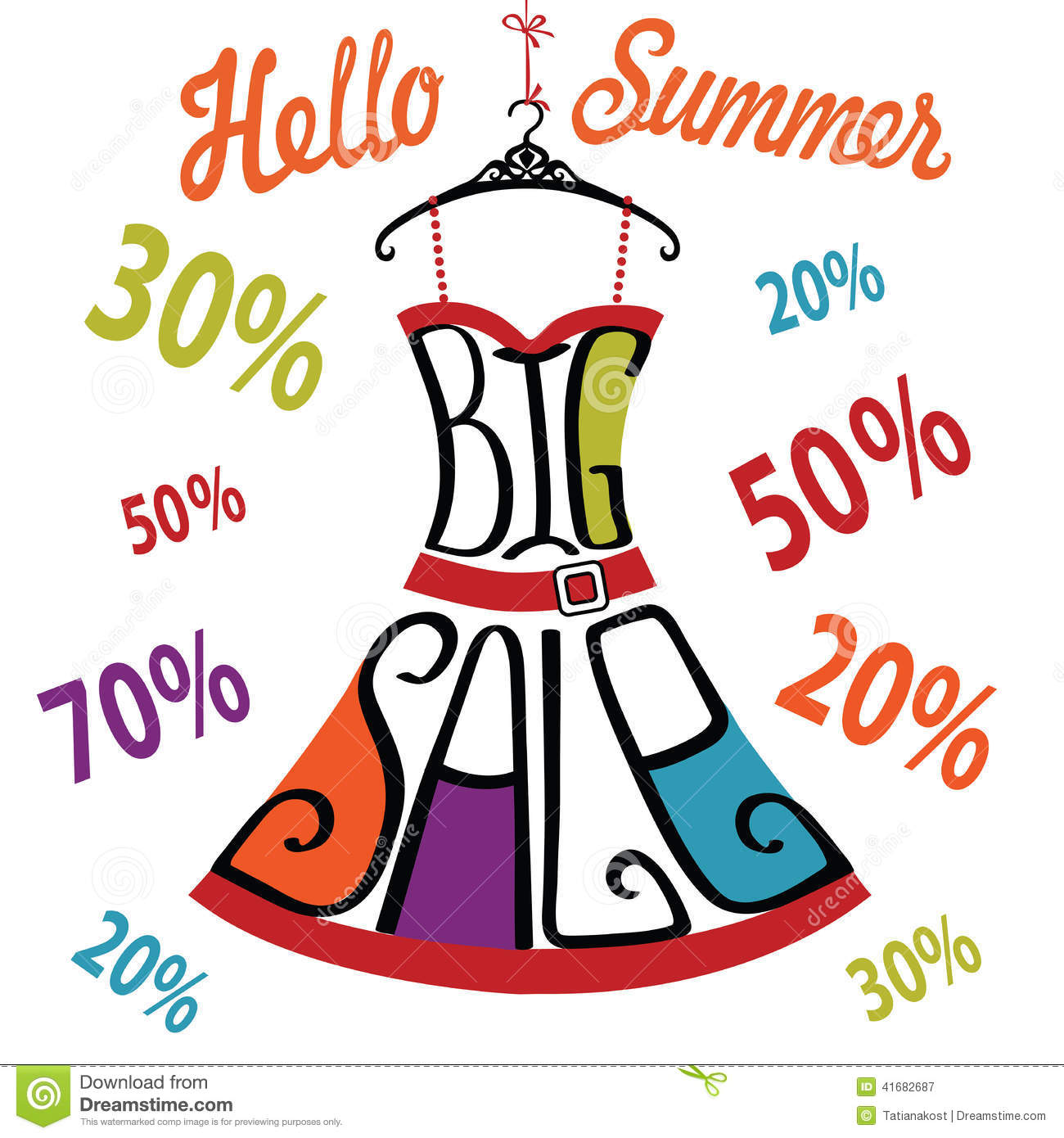 Silhouette Of Dress From Words Percent Sign Big Sale Stock Vector Image 41682687
