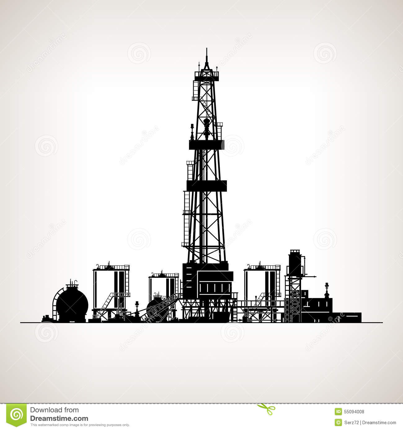 Silhouette Drilling Rig stock vector. Illustration of pipe ...  Silhouette Dril...