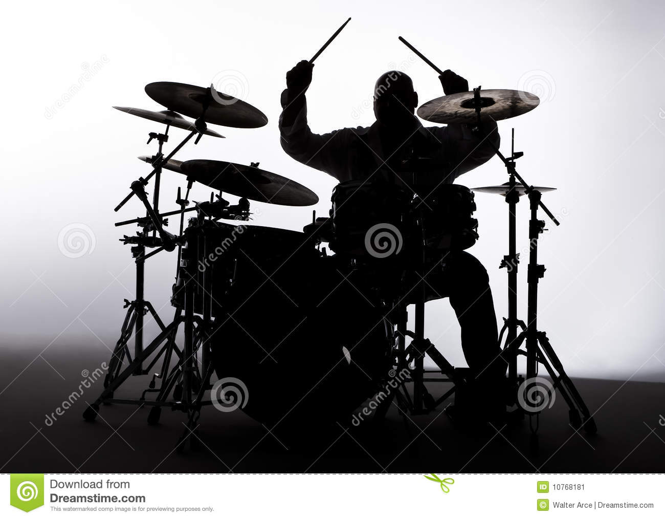 Silhouette Of A Drummer Stock Image - Image: 10768181