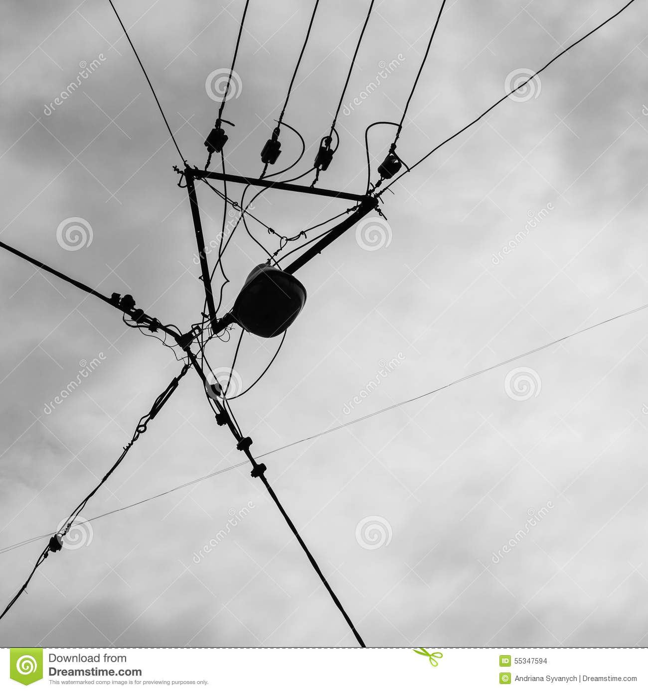 Silhouette Of Electrician Aerial Conductor Stock Photo Image Power Aerialwiringpicturejpg Download Communication Lead 55347594