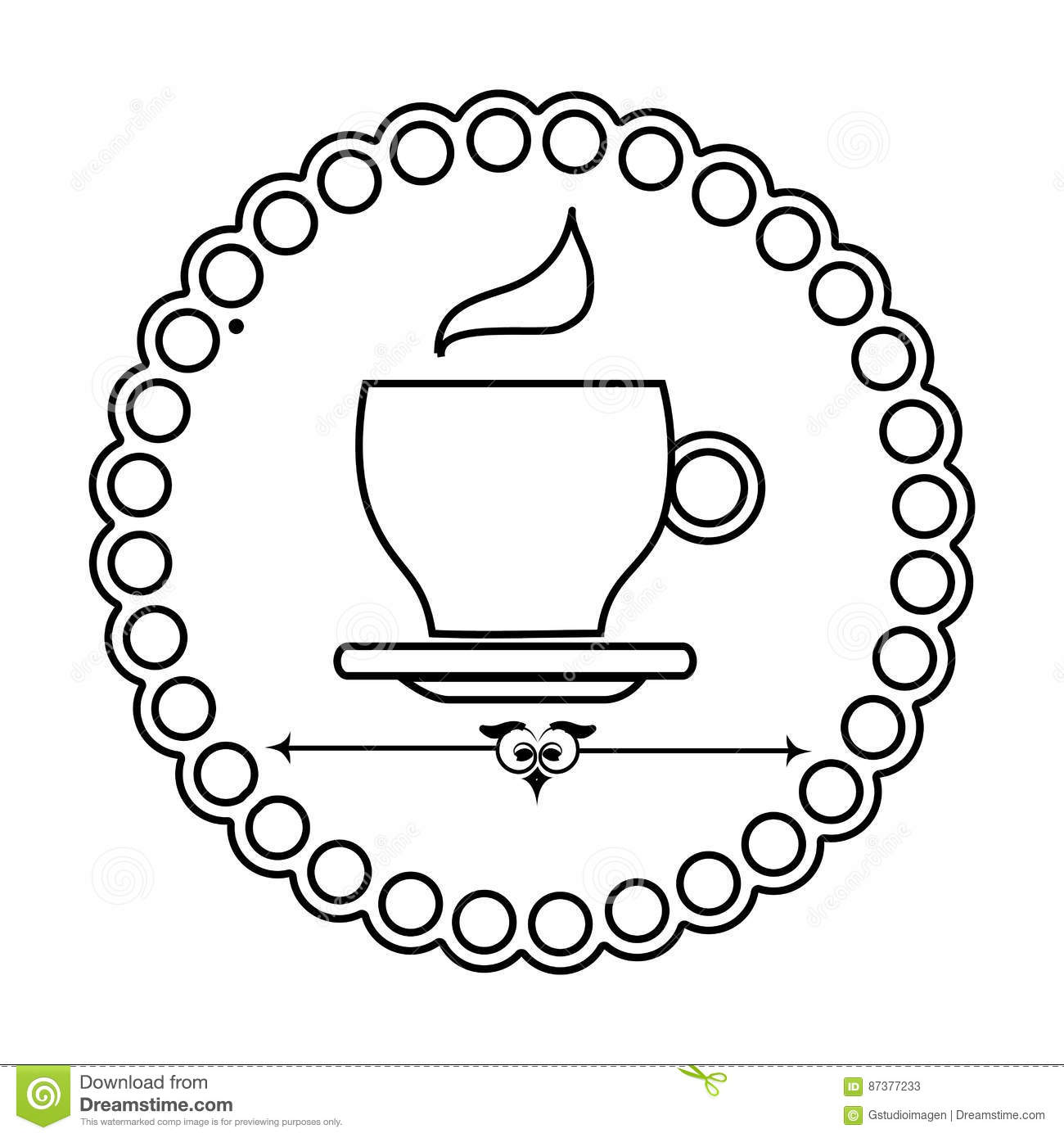 silhouette elegant border with coffee cup stock vector