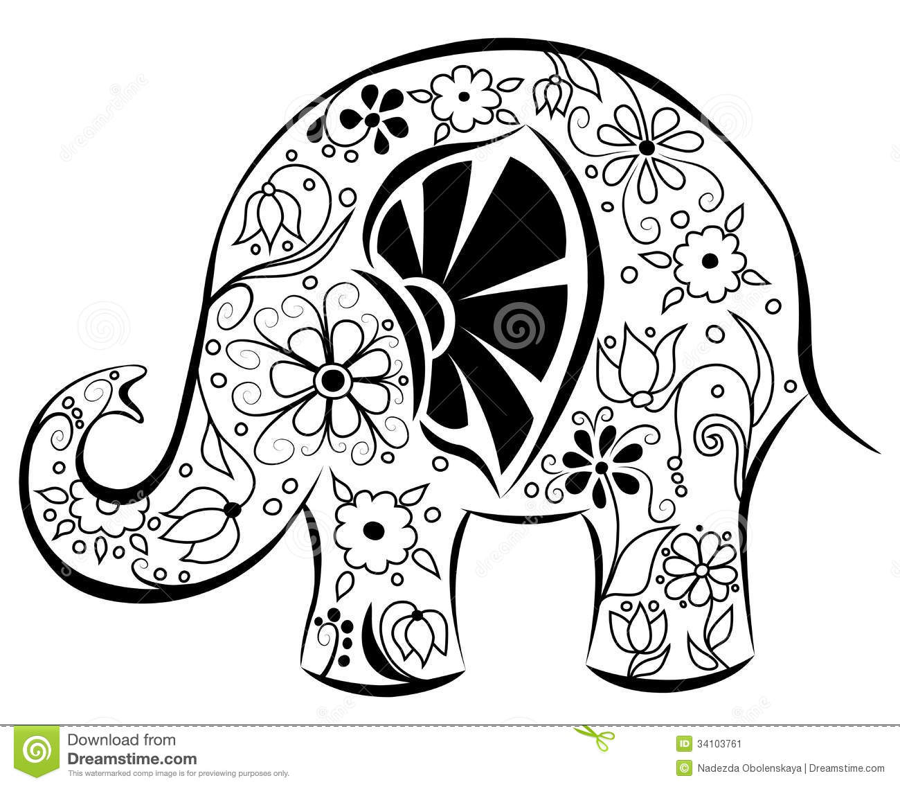 Silhouette Of An Elephant Painted By Flowers Black On White Cartoon Illustration