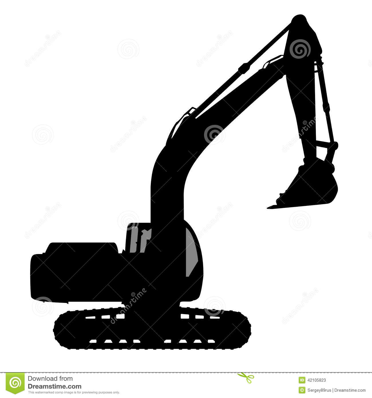 Silhouette the excavate. stock vector. Image of digging ...