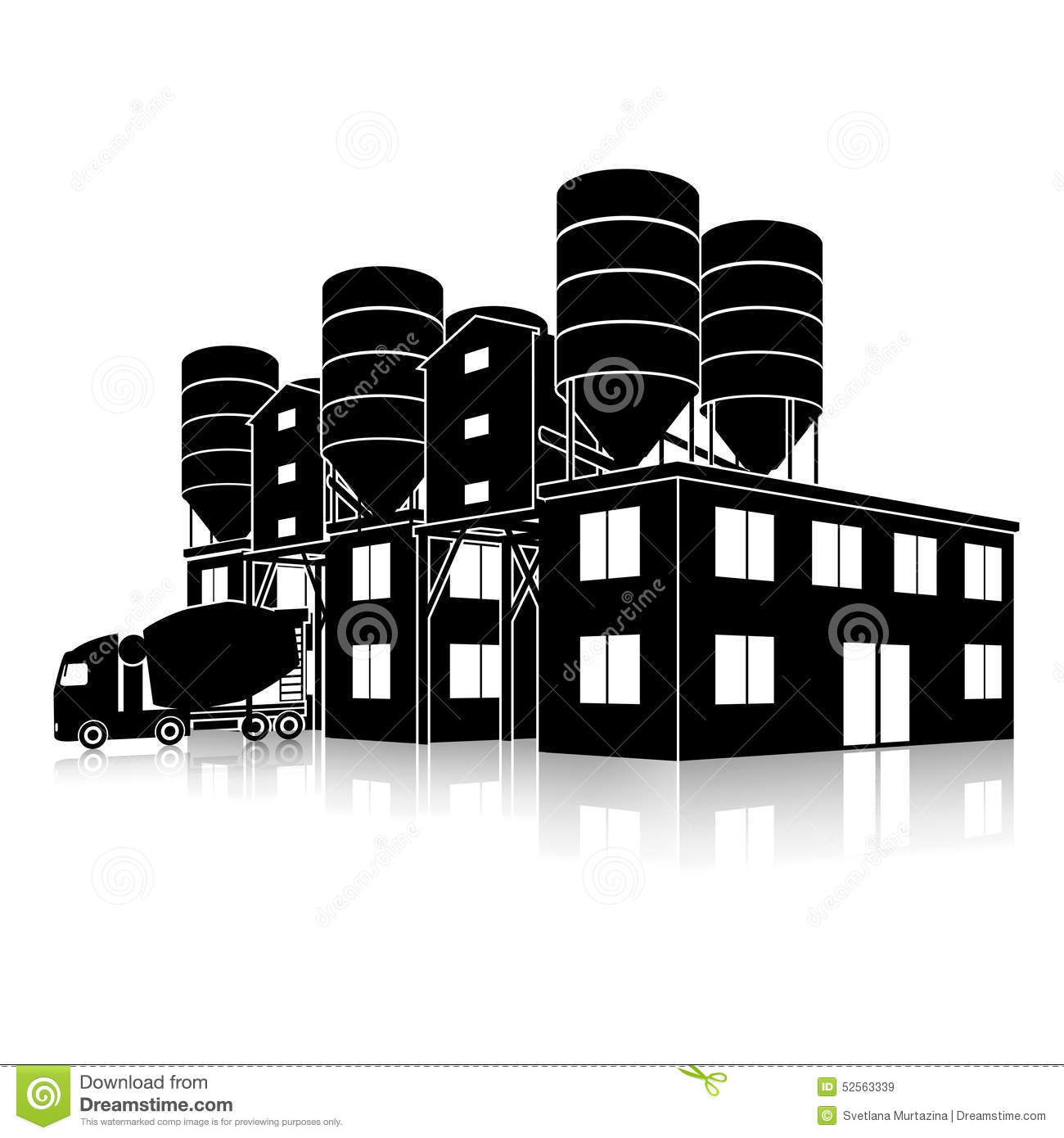 Silhouette Factory Building For The Production Of Concrete