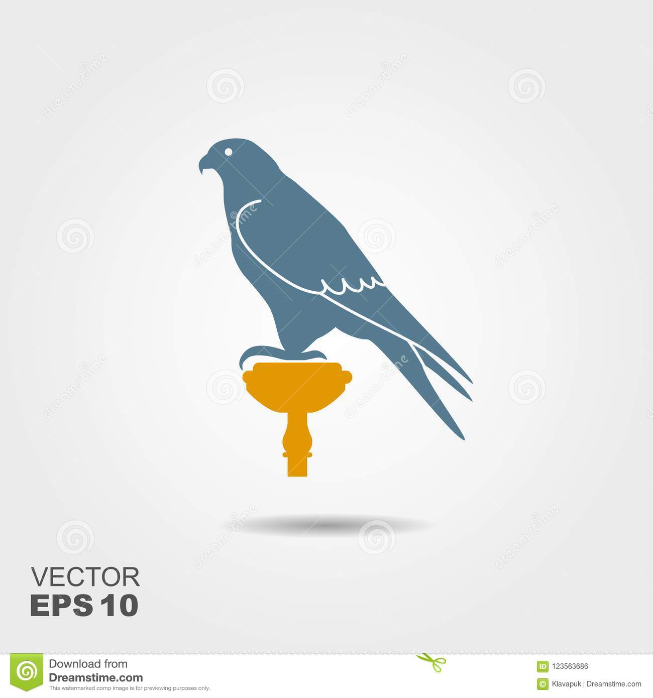 Hunting Falcon  Vector Flat Illustration With Shadow Stock