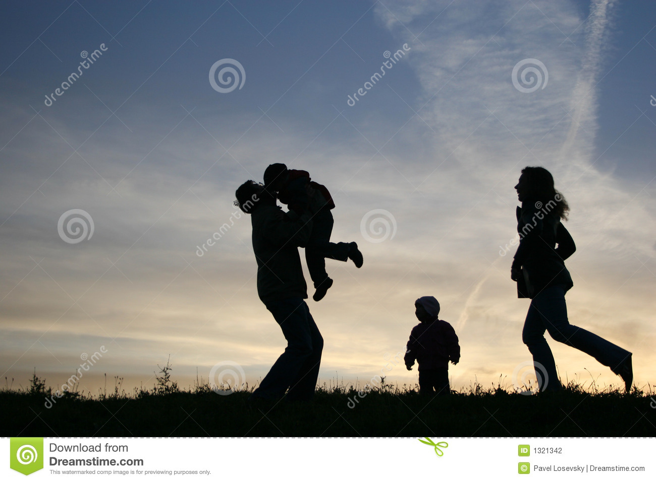 Silhouette Family Of Four Stock Photo  Image Of Infant
