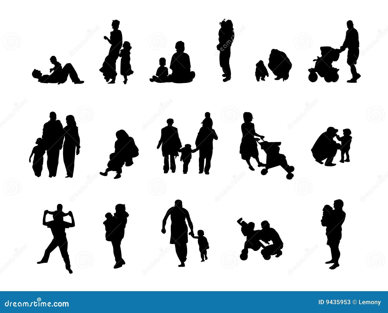 Silhouette Family Set Stock Photos Image 9435953