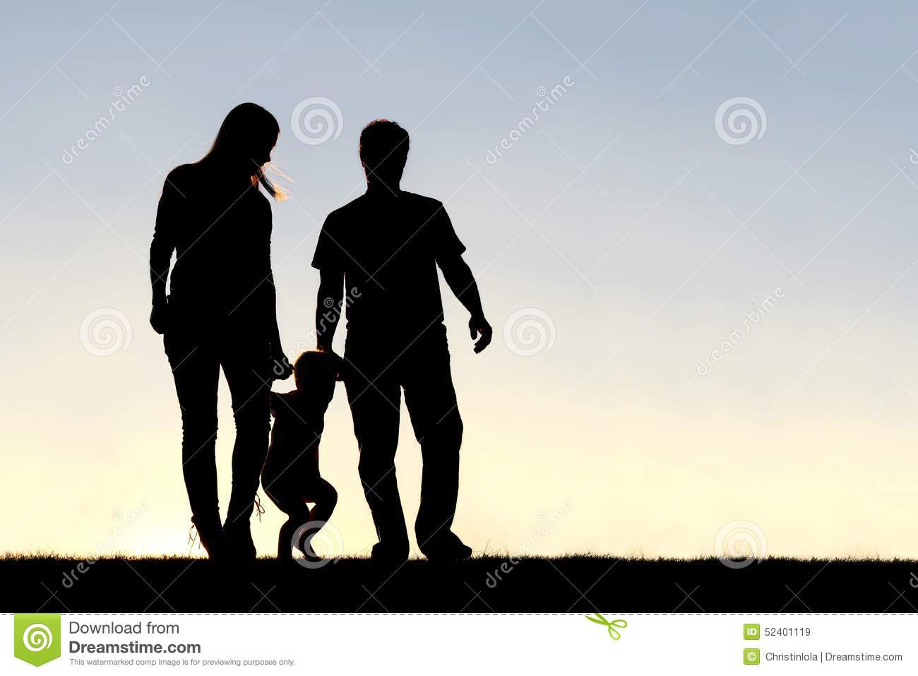 Silhouette Of Family Three People Walking At Sunset Royalty Free Stock Images