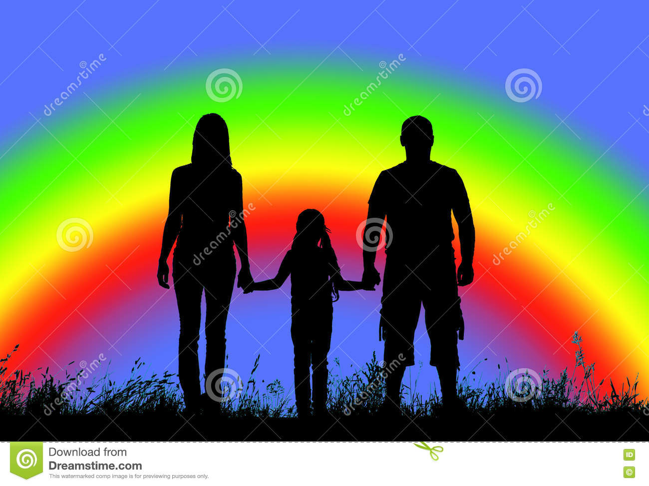 Silhouette Father Mother And Daughter Holding Hands On A Background