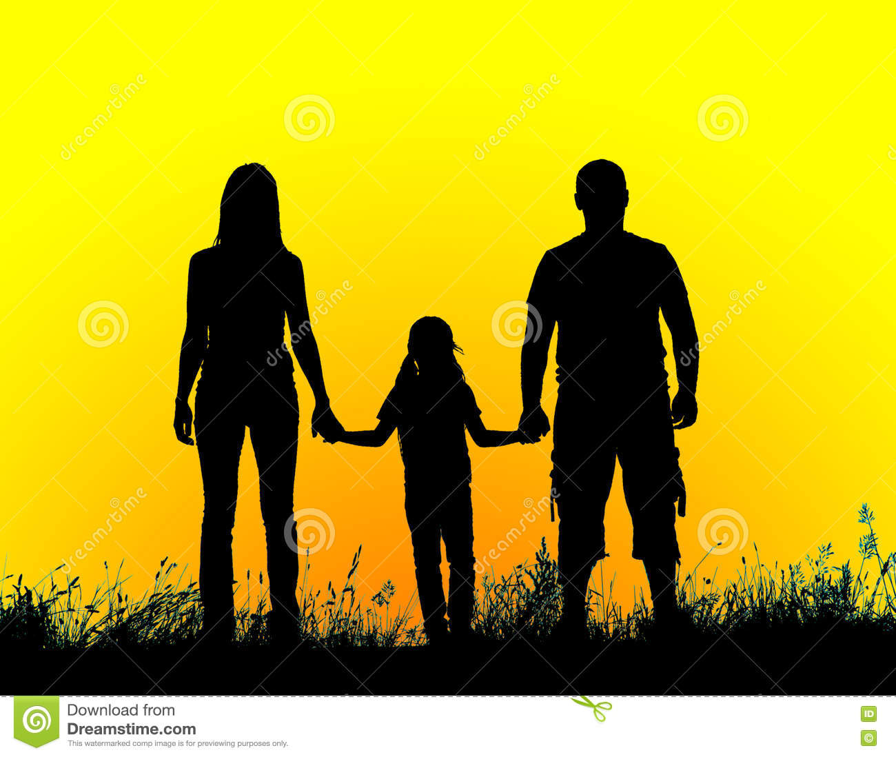 Silhouette Father Mother And Daughter Holding Hands At Sunset Stock
