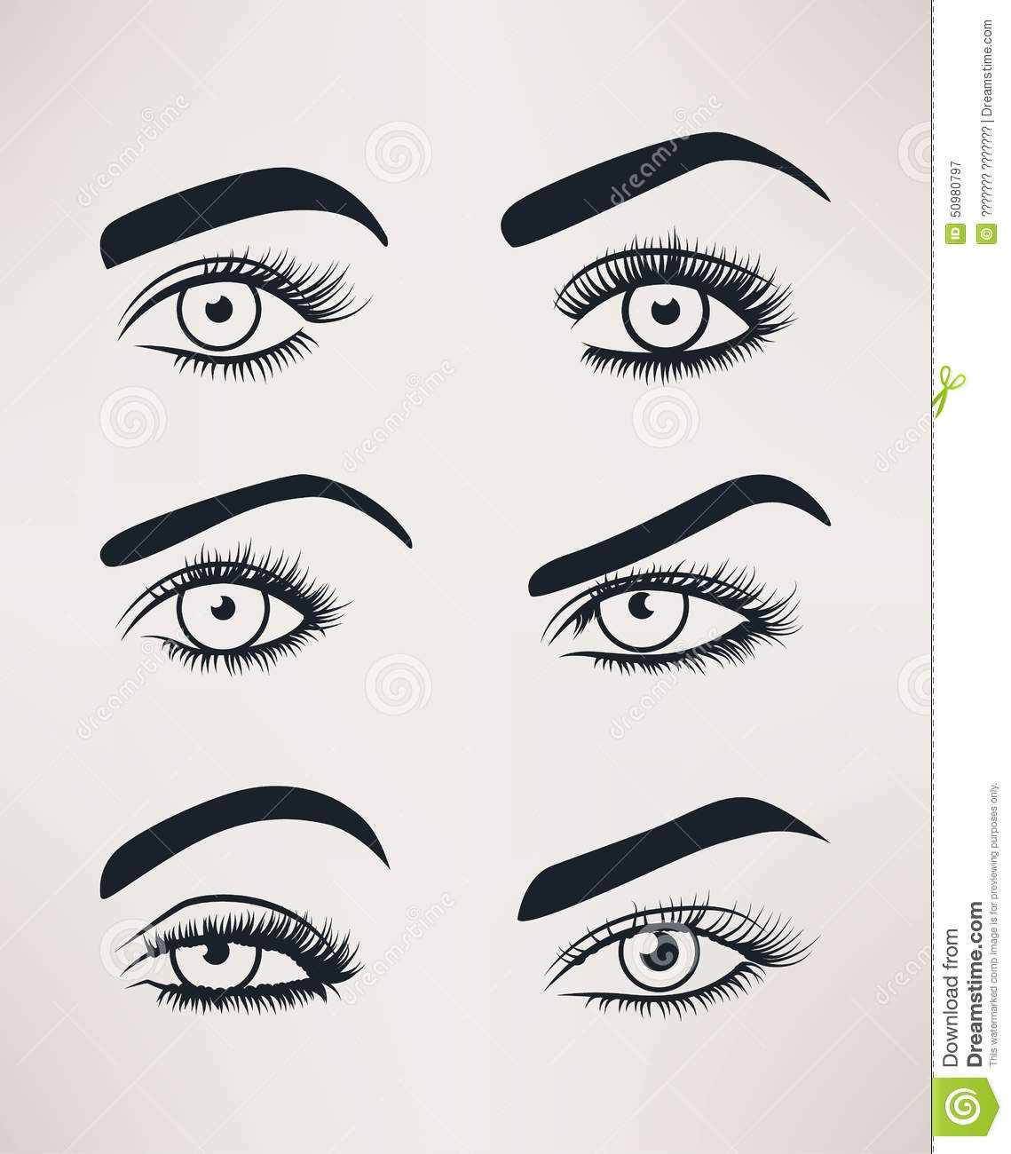 silhouette of female eyes open different shapes stock