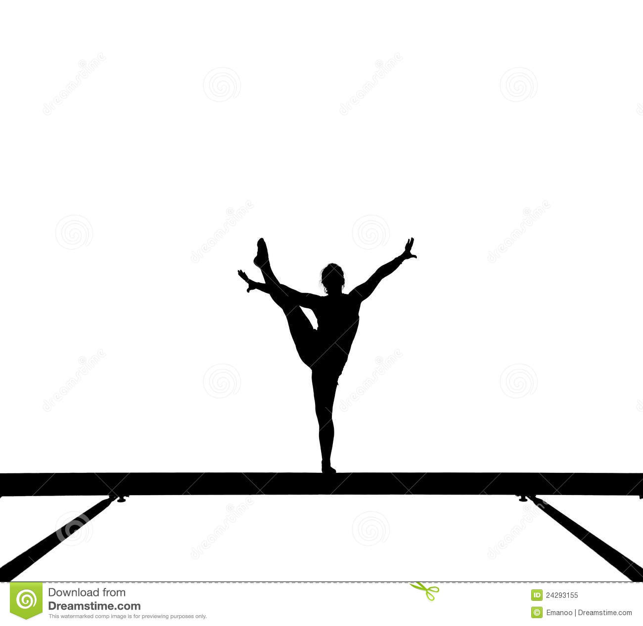 Silhouette Of Female Gymnast On Balance Beam Stock Image