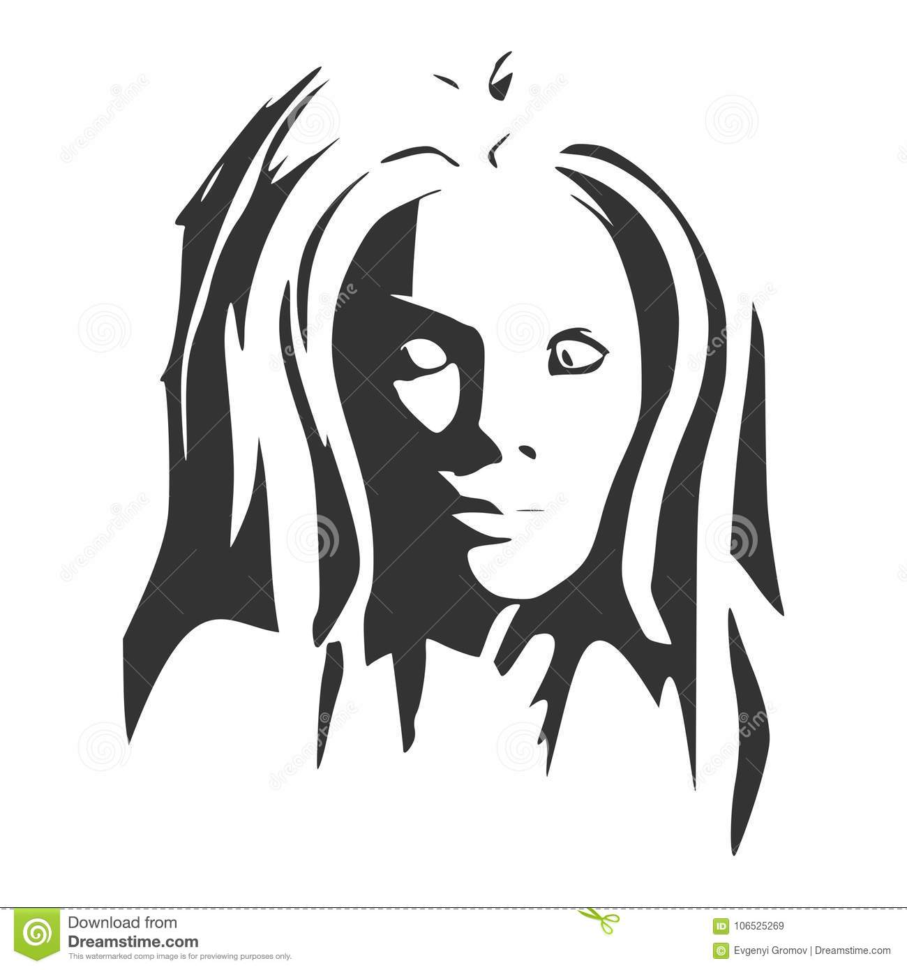 silhouette of a female head face front view stock vector