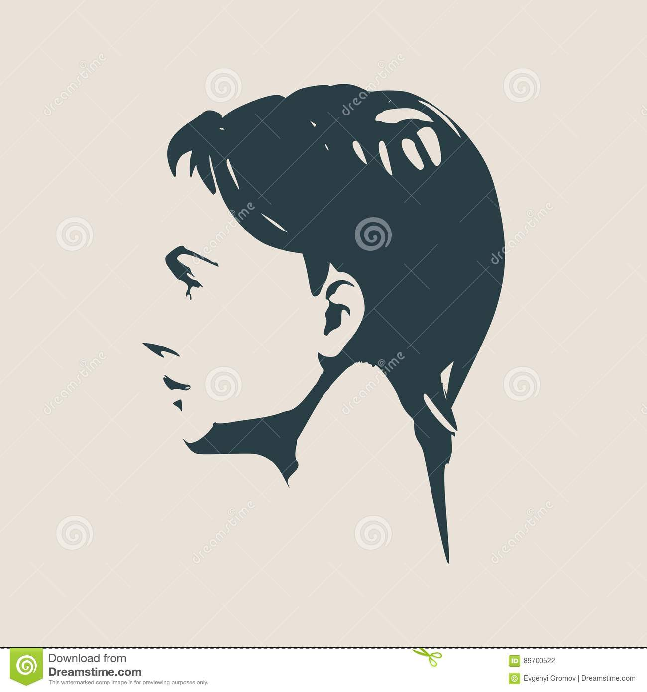 silhouette of a female head face side view