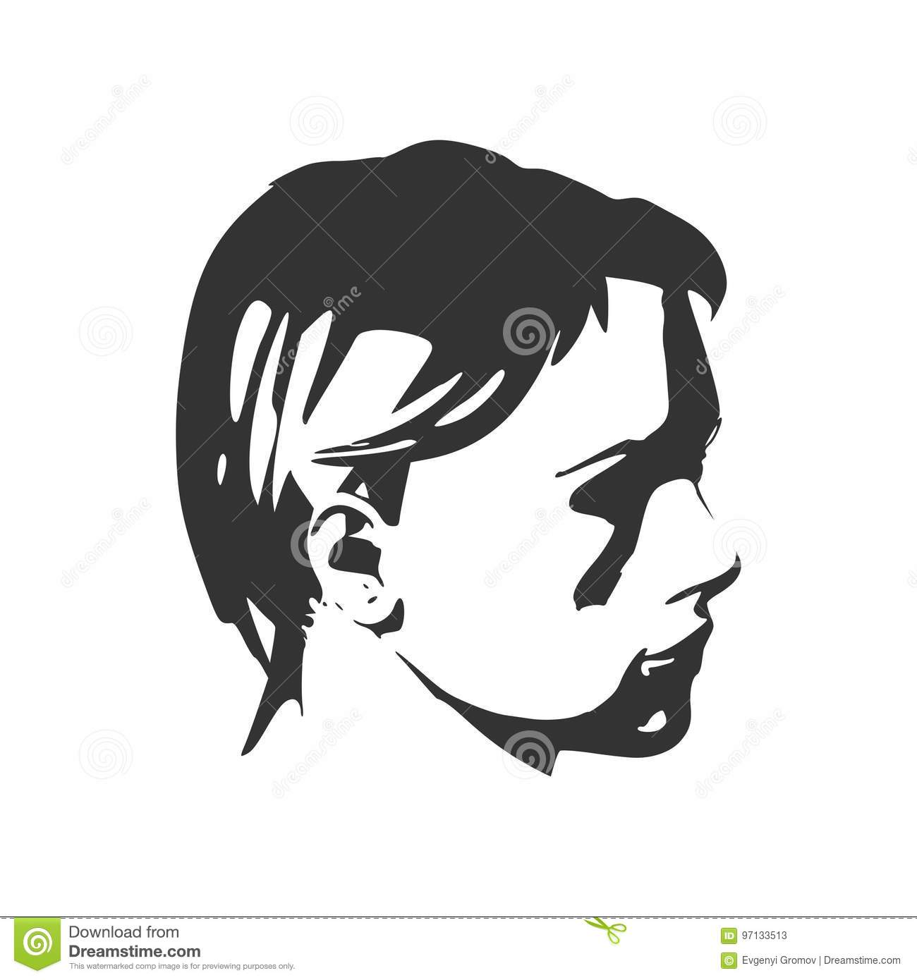 Silhouette of a female head face side view stock vector