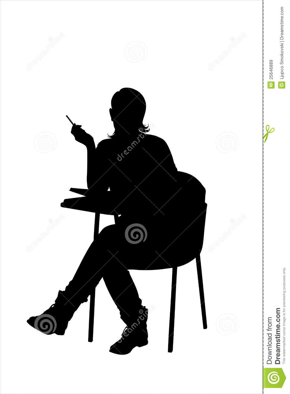 ... Free Stock Images: A silhouette of a female sitting on a school chair