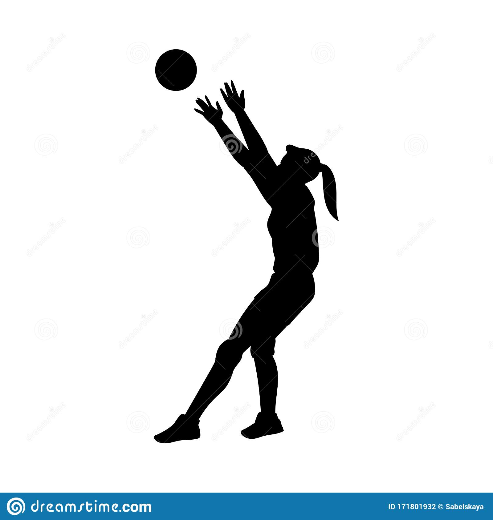 Volleyball Player Black Silhouette Set Isolated On White