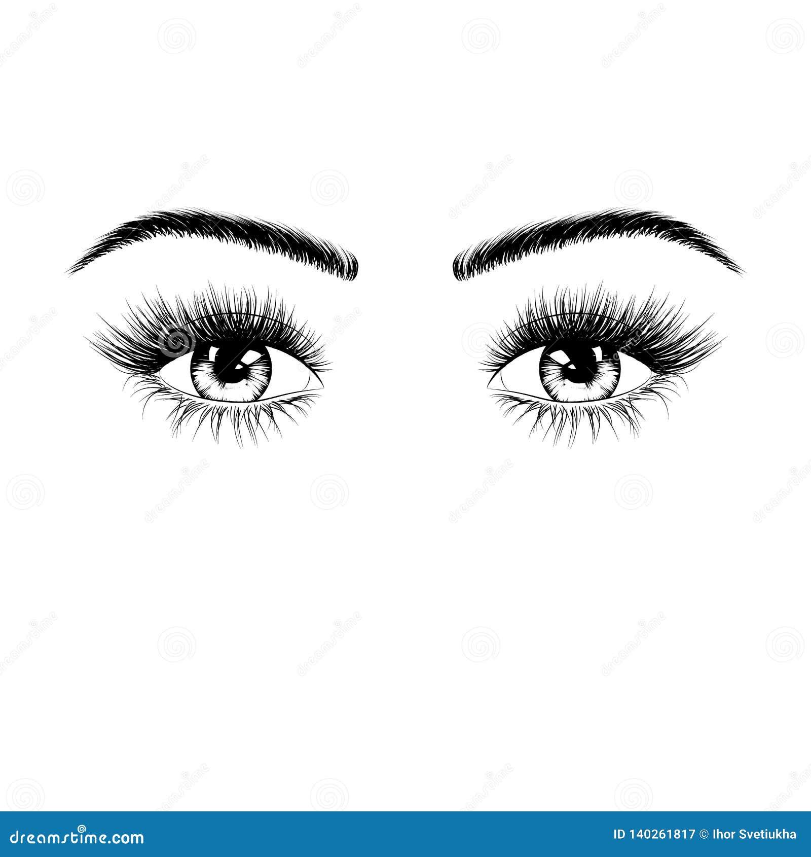 Silhouette femelle tirée par la main de yeux Yeux avec des cils et des sourcils Illustration de vecteur d isolement sur le fond b