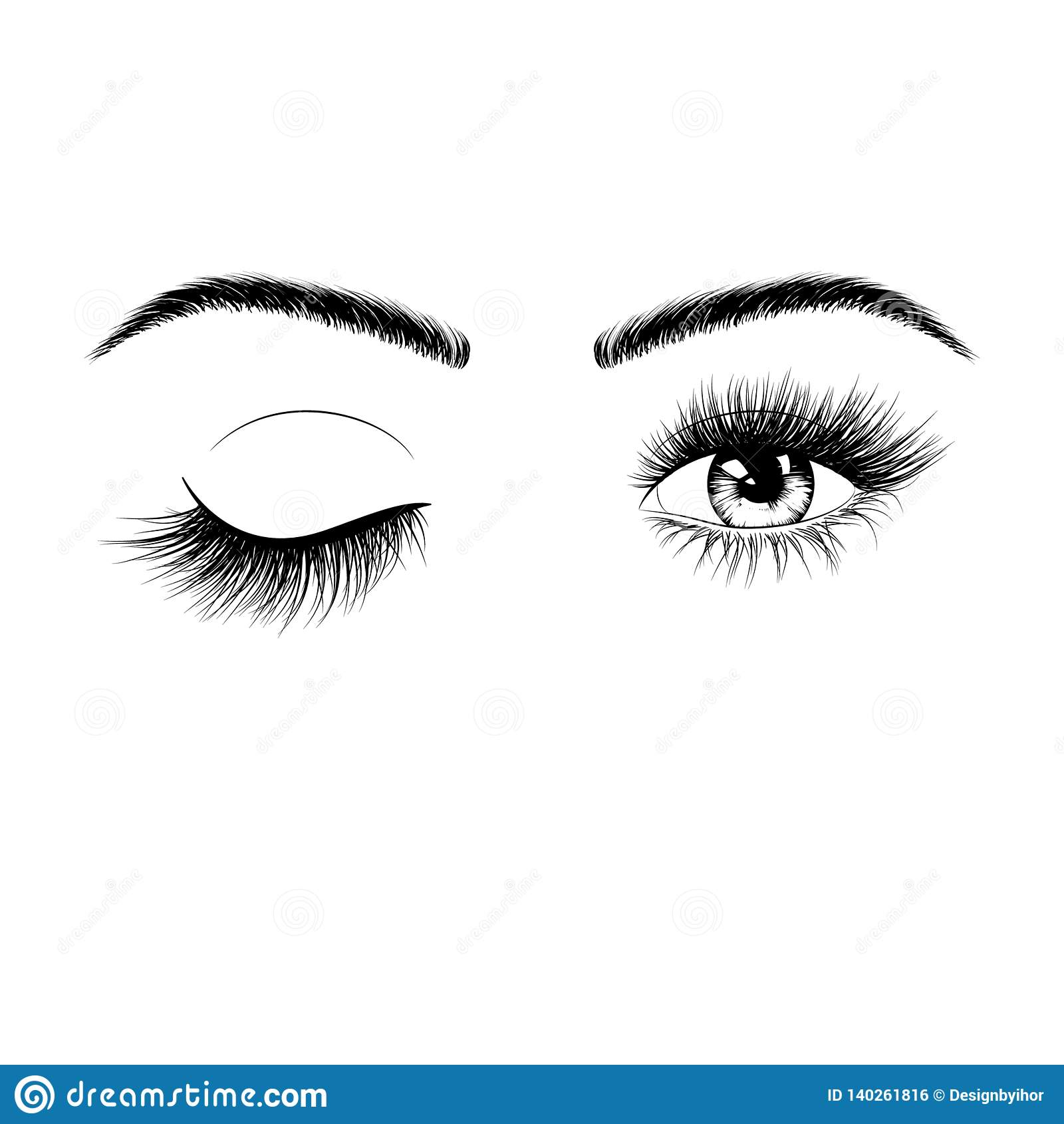 Silhouette femelle tirée par la main de yeux Oeil du clin d oeil un Yeux avec des cils et des sourcils Illustration de vecteur d