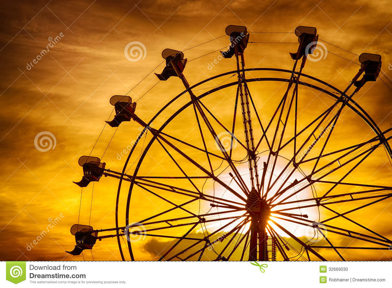Silhouette Of Ferris Wheel At Sunset At County Fair Stock ...