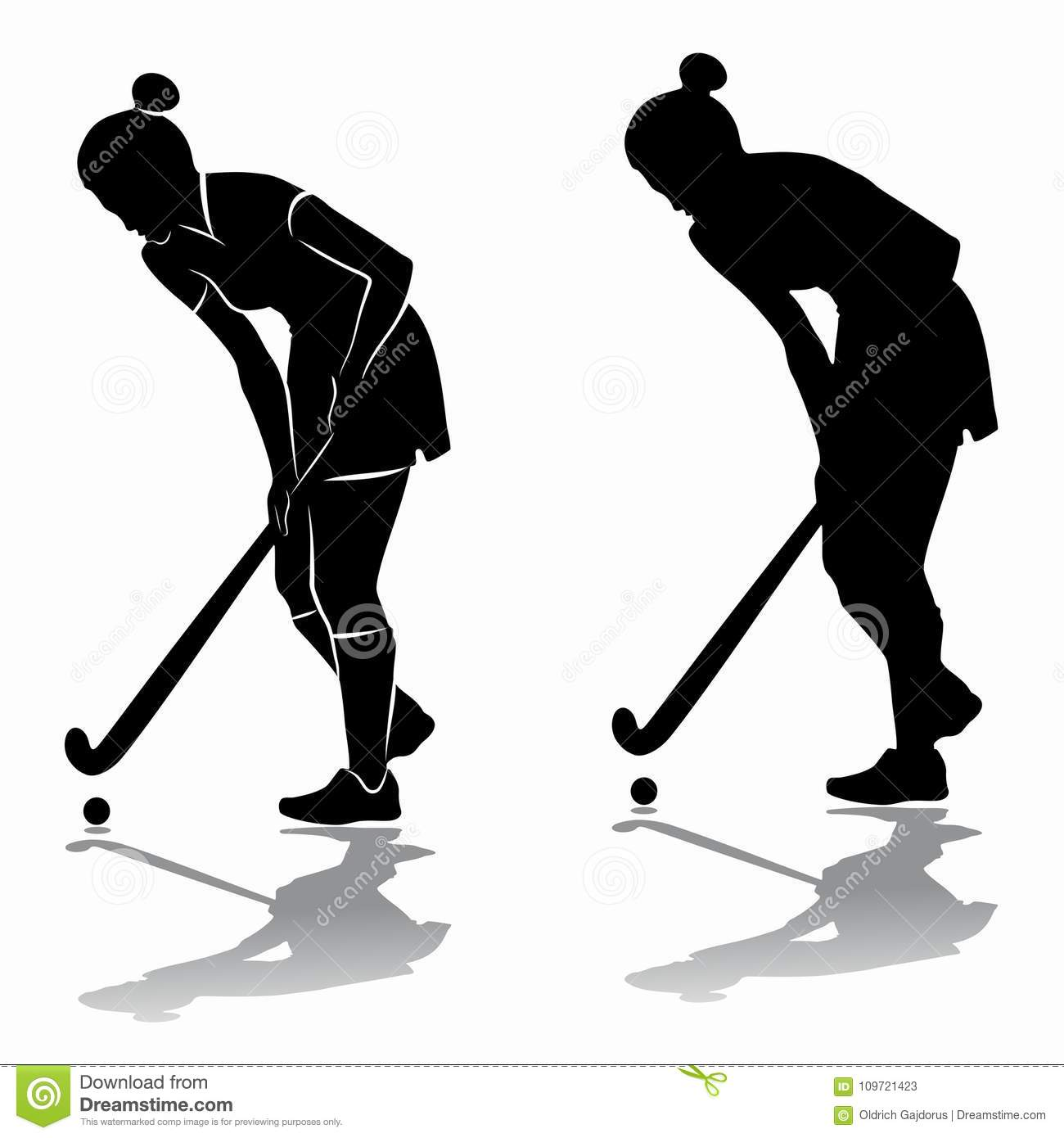 Silhouette Of A Field Hockey Player, Vector Draw Stock ...