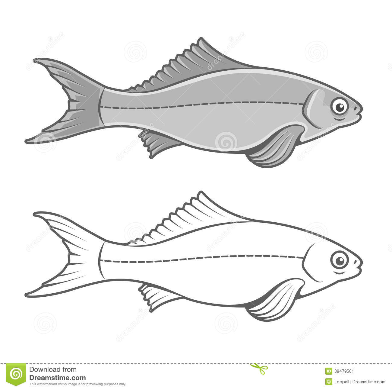 Contour Line Drawing Animal : Silhouette of fish contour drawing stock illustration