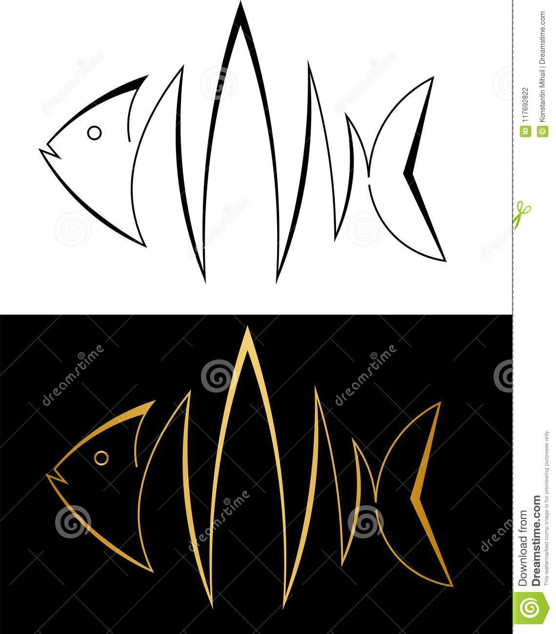 Silhouette of fish from lines fish minimalistic art logo
