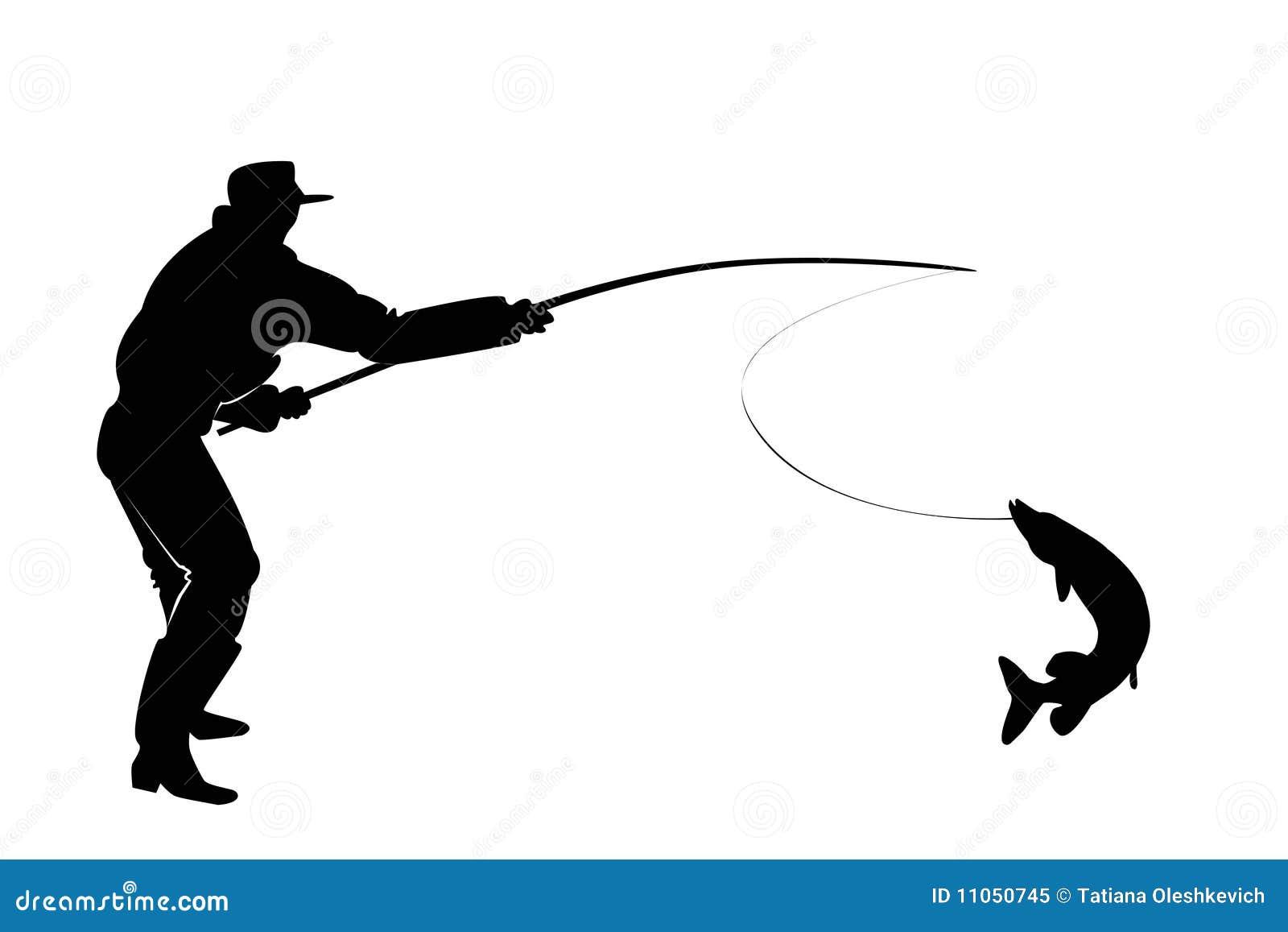силуэт рыбака с удочкой вектор