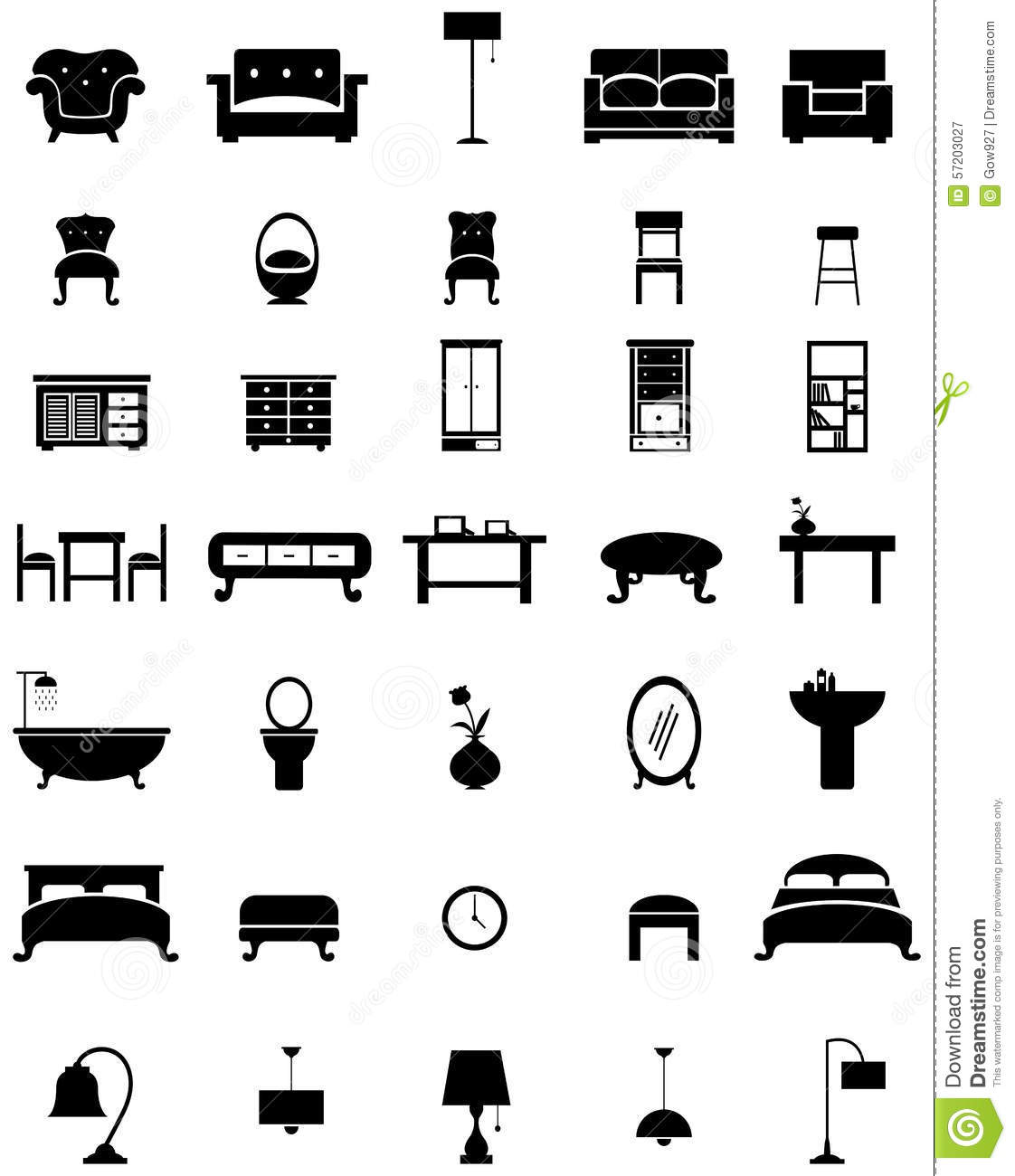 Silhouette flat home appliance furniture and interior for Interior design images vector
