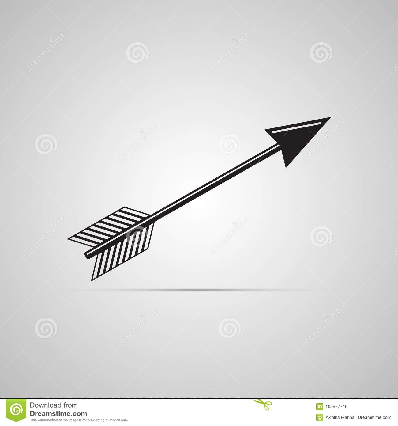 Silhouette flat icon, simple vector design with shadow. Arrow illustration for darts and arbalest