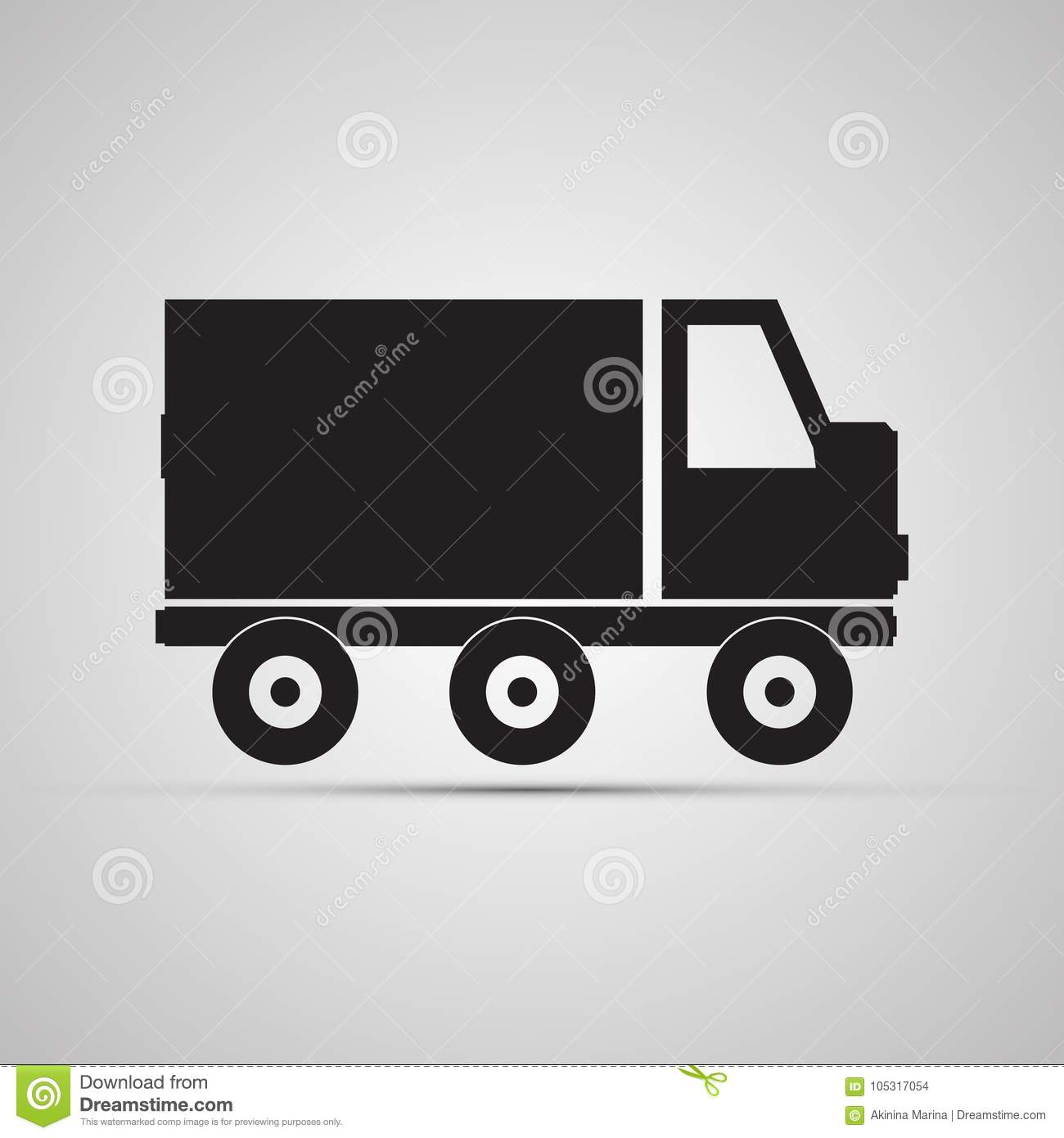 Silhouette Flat Icon Simple Vector Design With Shadow Car For