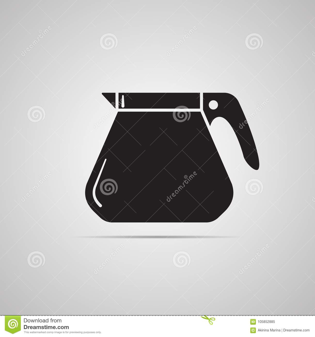 Silhouette Flat Icon, Simple Vector Design With Shadow  Coffee Maker
