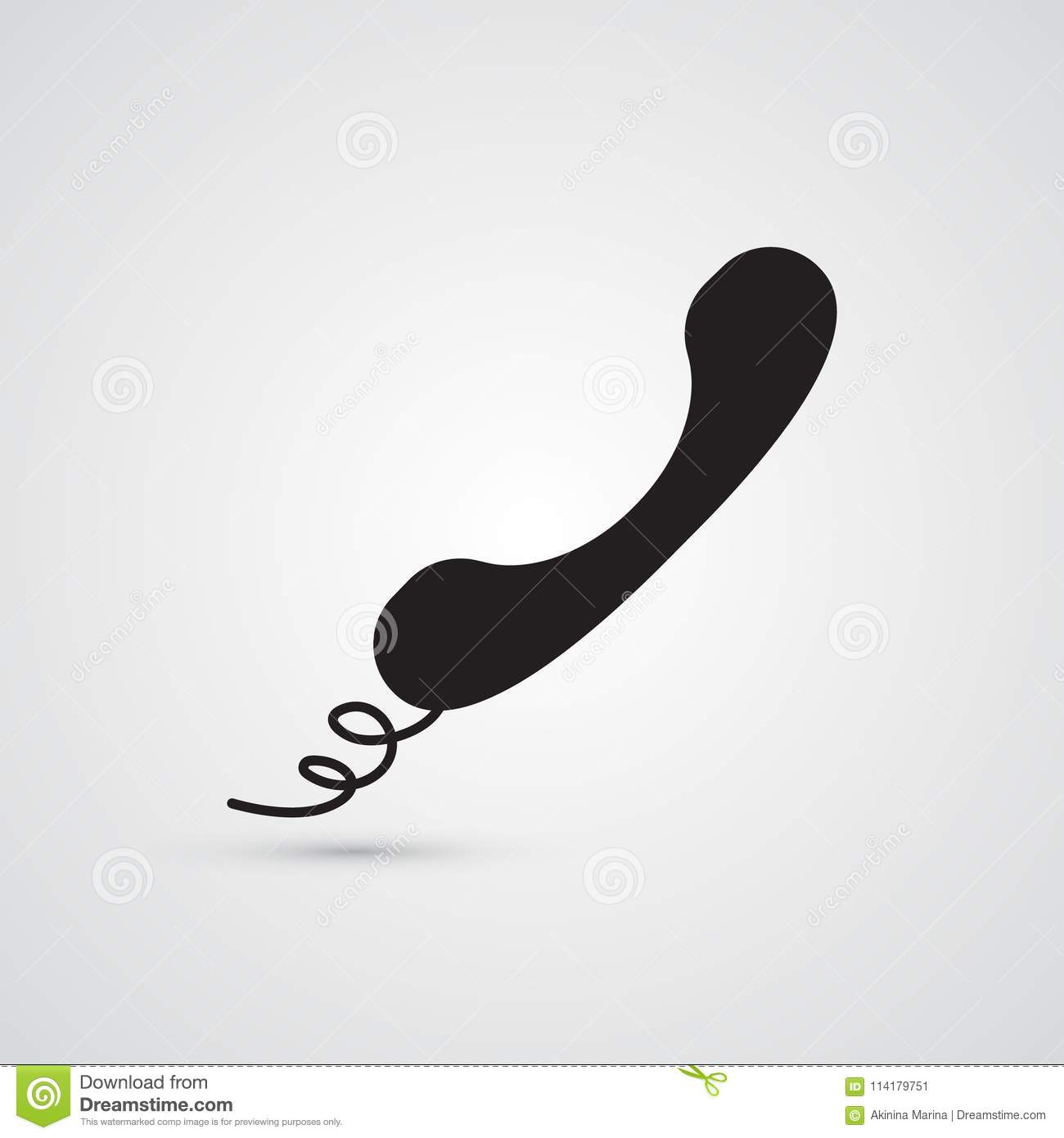 Silhouette Flat Icon Simple Vector Design Telephone Handset Wi Wiring With Wire For Illustration Of Conversation And Phone Call