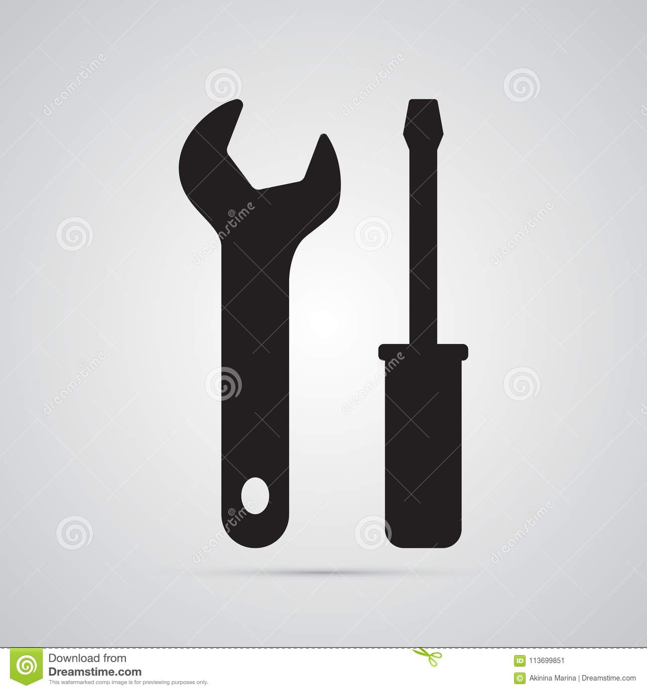 Silhouette flat icon, simple vector design. Turnscrew and wrench
