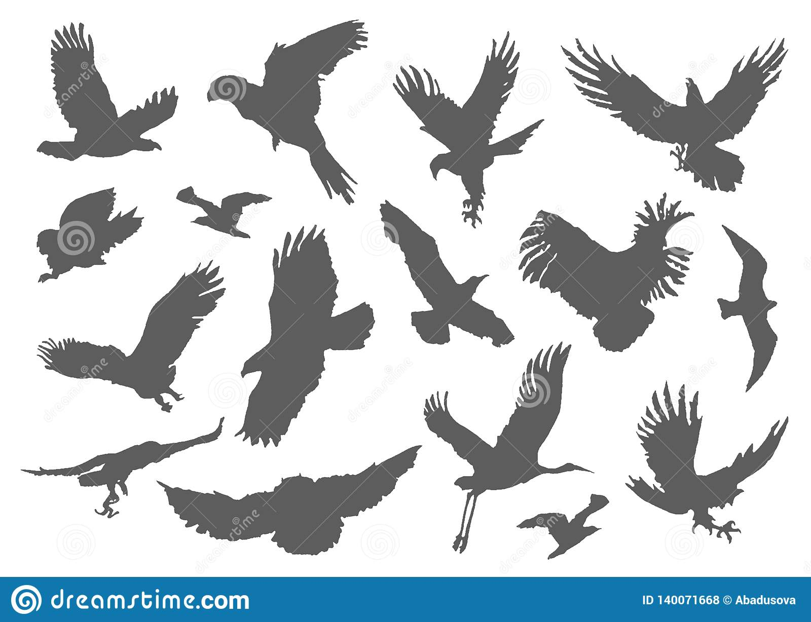 Silhouette Of Flying Birds On White Background Inspirational Body Flash Tattoo Ink Set With Textured Stipple Grey Stock Vector Illustration Of Endless Background 140071668