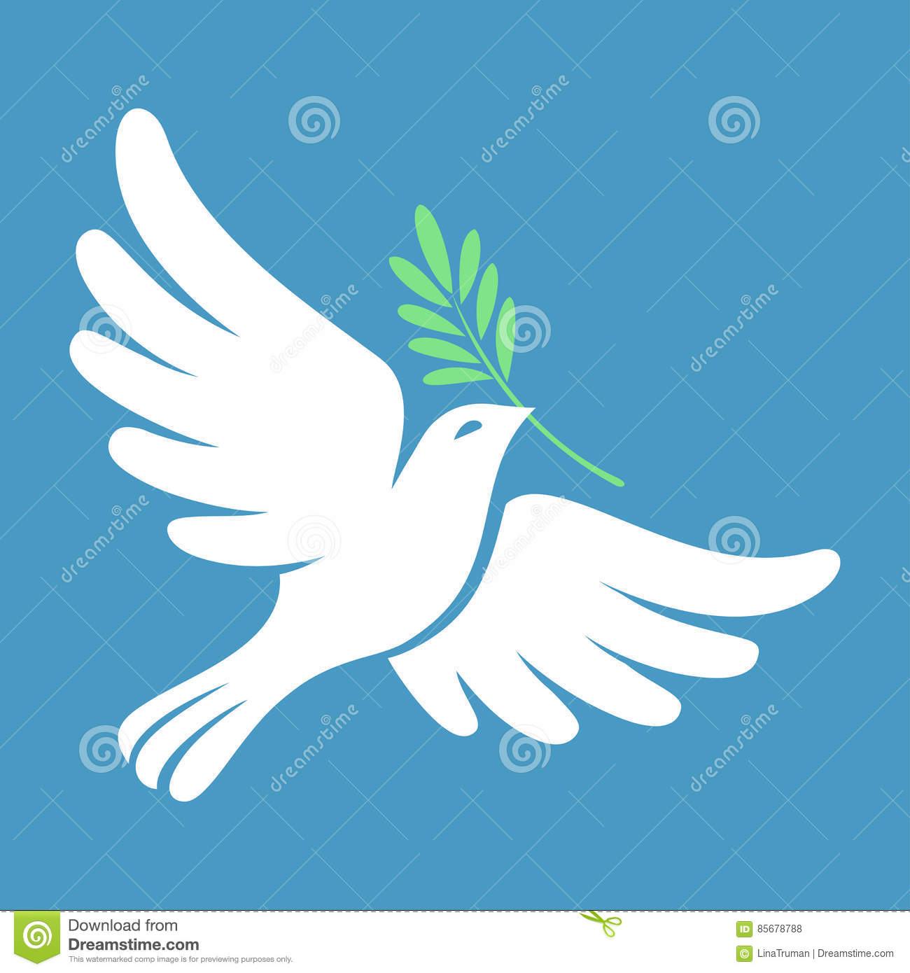 Silhouette Of A Flying Dove With Olive Branch. White ...