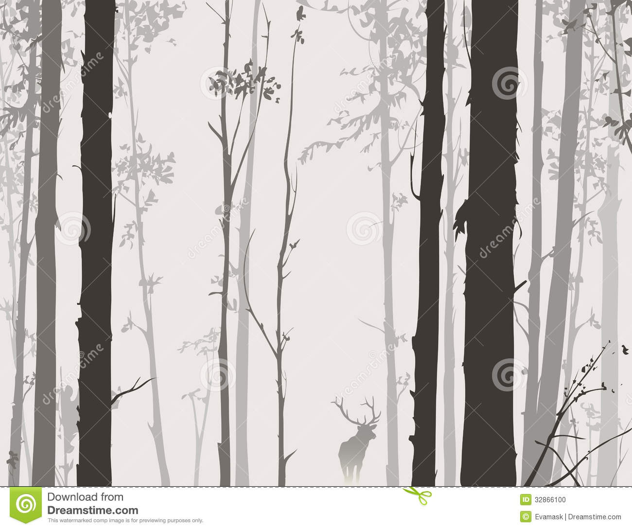 Tree And Owl Wall Stickers Silhouette Of The Forest With Deer Stock Photo Image