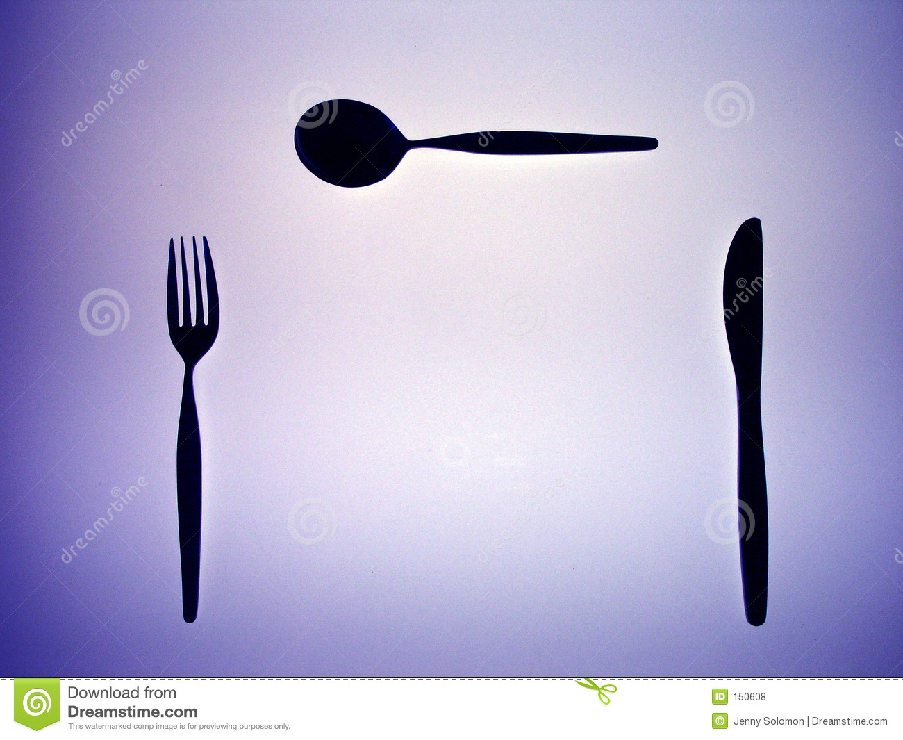 Silhouette of a fork, knife and spoon