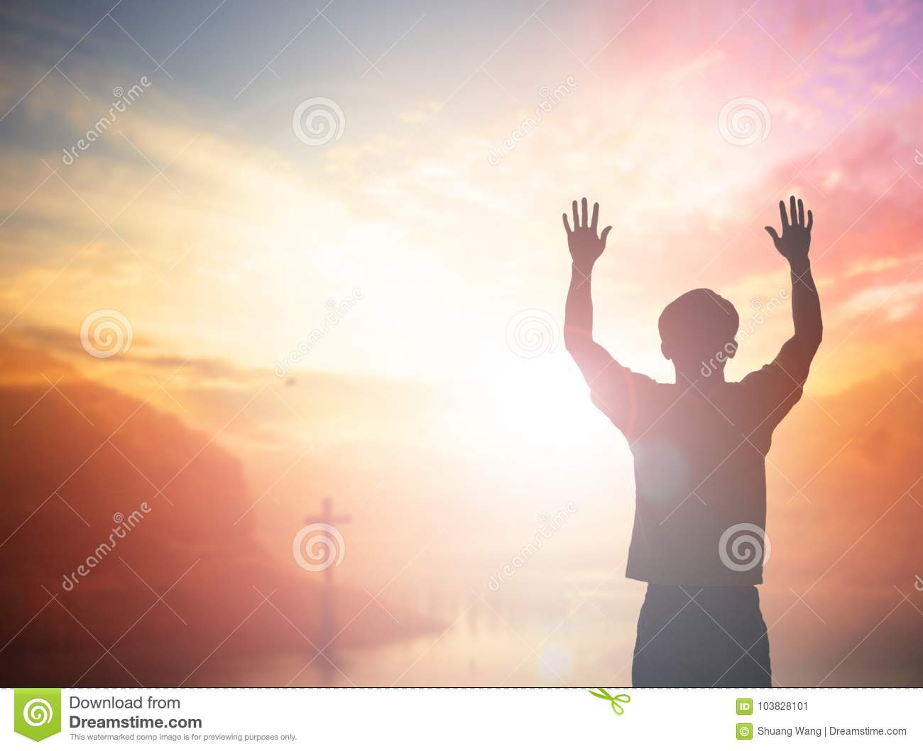 Silhouette freedom humble man rise hands up inspire good morning. Christian worship praise God in thanksgiving day Prayer Financia