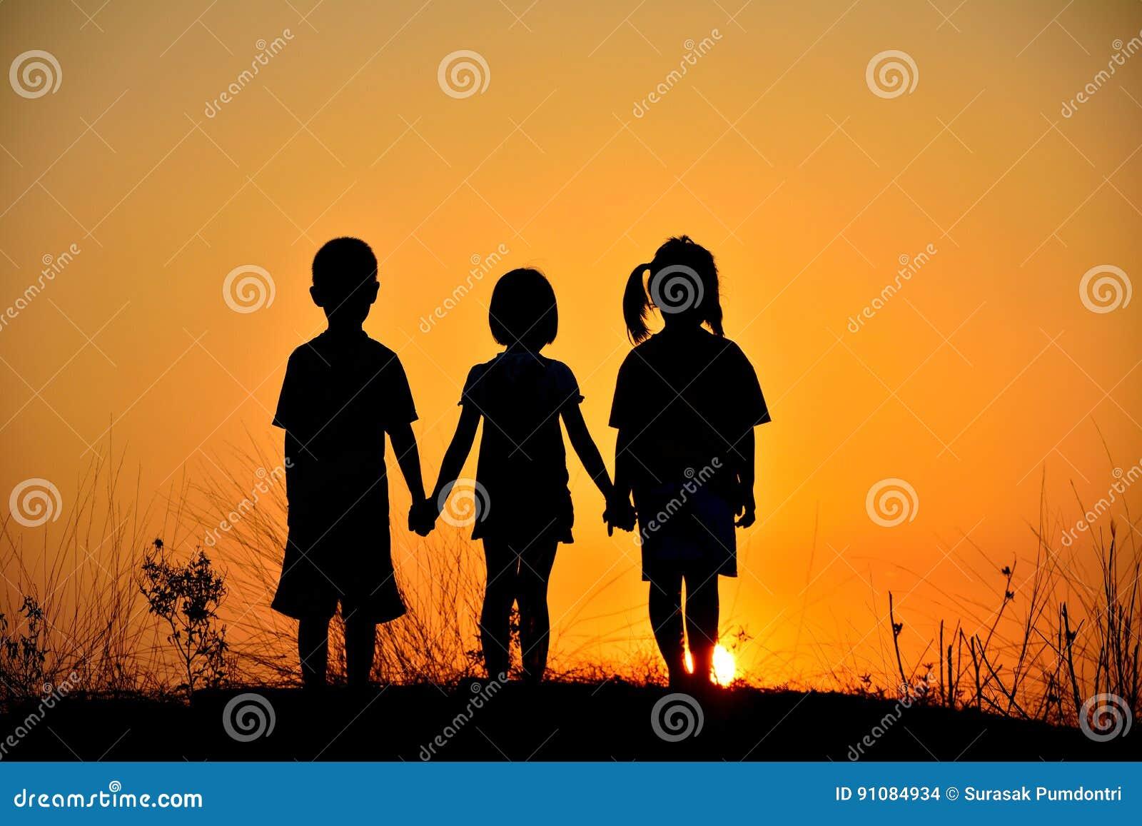 Silhouette friendship of three