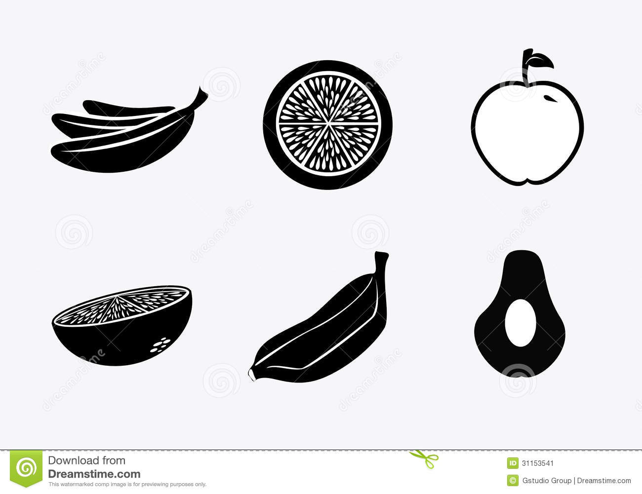 Silhouette Fruit Icons Stock Image Image 31153541