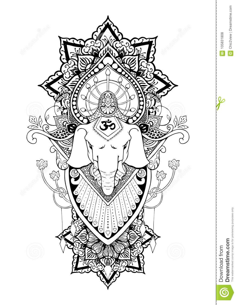Silhouette Ganesha Mandala Oriental Drawing Illustration Tattoo