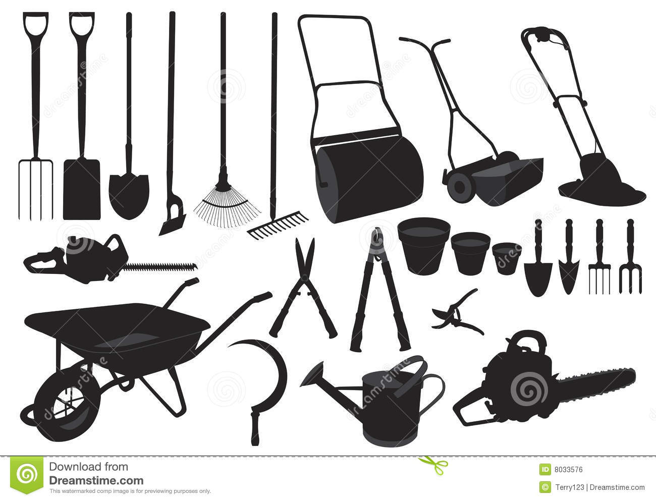 Silhouette Garden Tools Stock Vector Illustration Of Lawn
