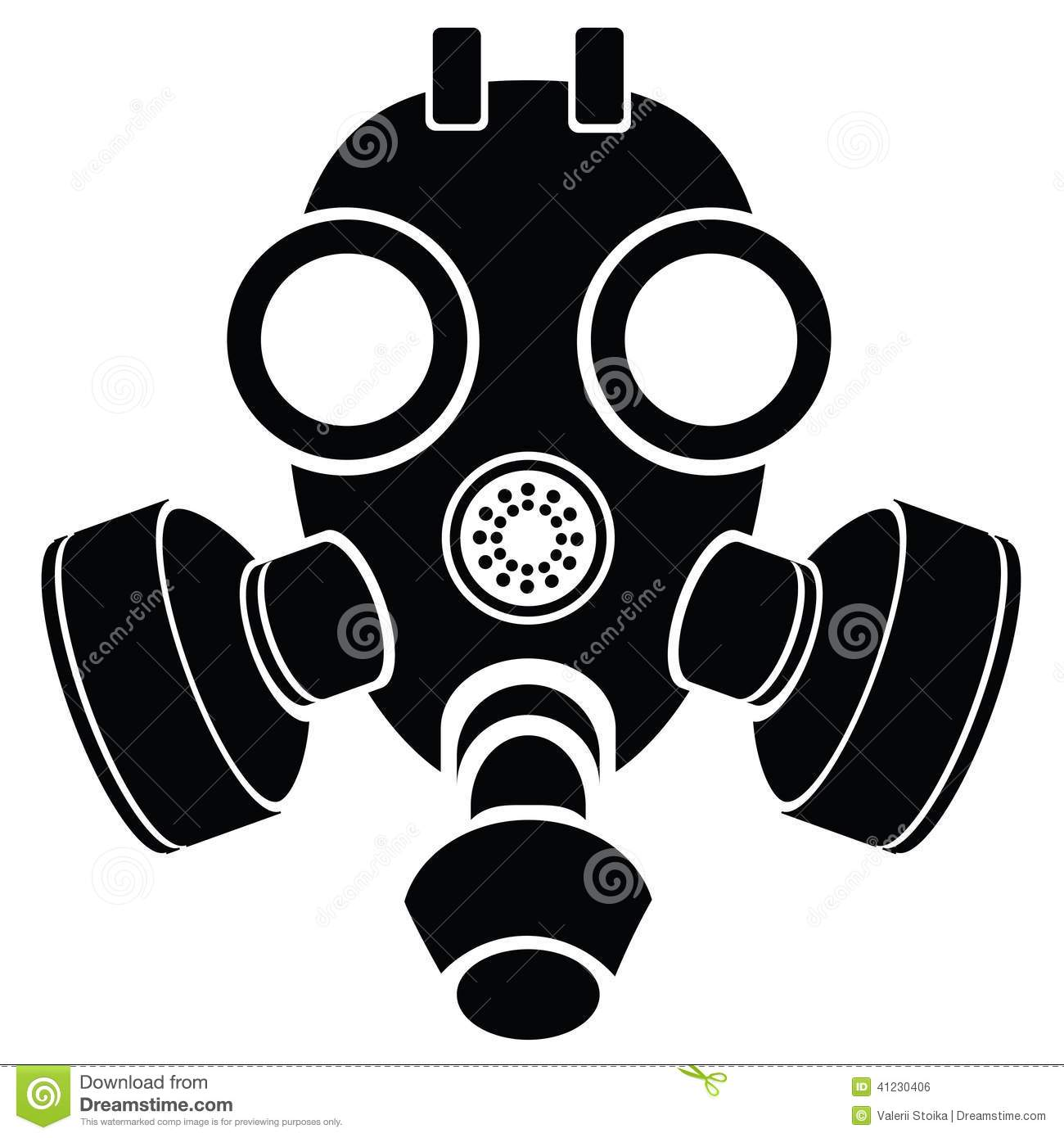 Illustration with silhouette of gas mask on a white background for    Gas Mask Silhouette Vector